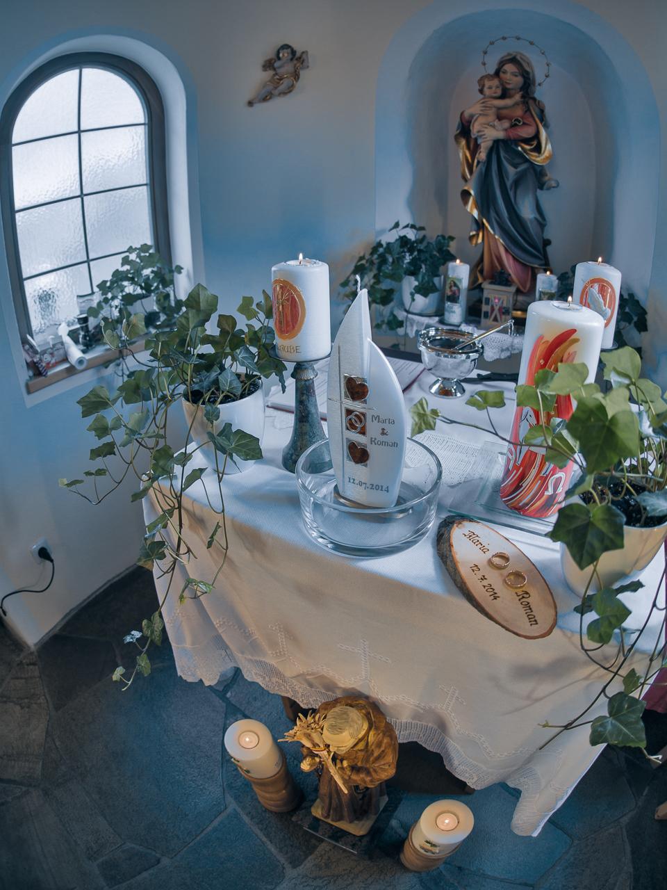 Foto Haaser - Hochzeitskerze mit Trauringen